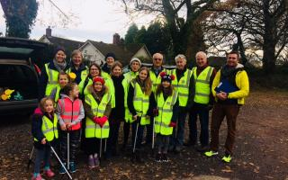 Volunteers on the litter pick